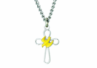 7/8 Inch Sterling Silver Open Cross With Dove On 18 Inch Stainless Steel Chain