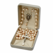 7mm Capped Pearl Beads and Cross with Miraculous Center Rosary