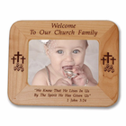 """8 1/2"""" x 6 1/2""""  'Church Family' Laser Engraved Maple Wood Photo Frame"""