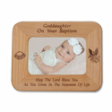 "8 1/2"" x 6 1/2"" Goddaughter Baptism Laser Engraved Maple Wood Photo Frame"