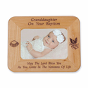 "8 1/2"" x 6 1/2"" Granddaughter Baptism Laser Engraved Maple Wood Photo Frame"