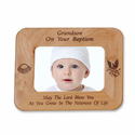 "8 1/2"" x 6 1/2""  Grandson Baptism Laser Engraved Maple Wood Photo Frame"