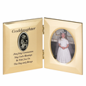 """8"""" x 5"""" Goddaughter's First Communion Hinged Gold Plated Metal Photo Frame with Kneeling Girl"""