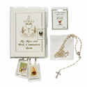 Girl's Communion Set with White Mass Book (Option to Personalize Rosary)