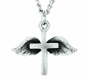 Nickel Silver Cross Wings Pendant On 24 Inch Stainless Steel Chain