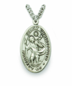 "Nickel Silver Engraved Oval St. Christopher Medal on 24""Chain"