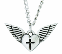 Nickel Silver Heart Cross Wings Pendant On 24 Inch Stainless Steel Chain