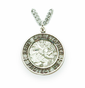 "Nickel Silver Round Engraved St. Christopher Medal on 24"" Chain"