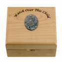 Personalized Watch Over This Child Maple Wood Keepsake Box