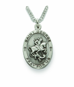 Saint George 1 inch patron of Soldiers, Boy Scouts Nickel Silver Engraved Medal on 24 inch Chain