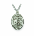 Saint Joseph 1 inch Patron of Carpenters Nickel Silver Engraved Medal on 24 inch Chain