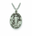 Saint Patrick 1 inch Patron of The Irish, Nickel Silver Engraved Medal on 24 inch Chain
