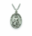 Saint Peregrine 1 inch Patron of Cancer,  Nickel Silver Engraved Medal on 24 inch Chain