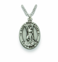 Saint Sebastian 1 inch Patron of Athletes, Nickel Silver Engraved Medal on 24 inch Chain