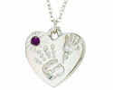 Silver Plated Mommy And Me February Birthstone Heart Pendant On 18 Inch Stainless Steel Chain