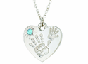 Silver Plated Mommy And Me March Birthstone Heart Pendant On 18 Inch Stainless Steel Chain