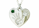 Silver Plated Mommy And Me May Birthstone Heart Pendant On 18 Inch Stainless Steel Chain