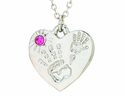 Silver Plated Mommy And Me October Birthstone Heart Pendant On 18 Inch Stainless Steel Chain