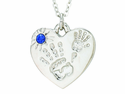 Silver Plated Mommy And Me September Birthstone Heart Pendant On 18 Inch Stainless Steel Chain