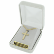 """Sterling Silver 14K Gold Finish Celtic Knot Cross Necklace on 24"""" Chain"""