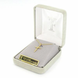 """Sterling Silver 14K Gold Finish Cross Necklace in a Antiqued and Budded Ends Design on 18"""" Chain"""