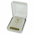 """Sterling Silver 14K Gold Finish Cross Necklace with Diamond-Like CZ Stone on 16"""" Chain"""