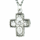 Sterling Silver 3/4 Inch 4 Way Medal on 18 Inch Chain