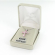"""Sterling Silver April Birthstone Crucifix on 18"""" chain"""