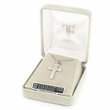 """Sterling Silver Cross Necklace embodied in a Colored Stones Circle Design on 18"""" Chain"""