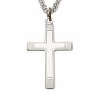 """Sterling Silver Cross Necklace with Inner Cross on 24"""" Chain"""