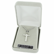 """Sterling Silver Cross with Gold Finsh Draped Robe on 18"""" Silver Chain"""