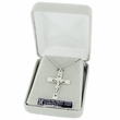 """Sterling Silver Crucifix Necklace in a 2-Tone and Black Enameld Design on 24"""" Chain"""
