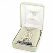 """Sterling Silver Engraved Rectangle  St. Christopher Medal on 24"""" Chain"""