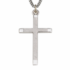 """Sterling Silver Men's Cross With Polished Ends & Brushed Finish On 24"""" Chain"""