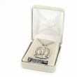 """Sterling Silver Oval St. Florian Medal with Angel on Back on 24"""" Chain"""