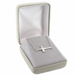 "Sterling Silver Sideways Cross  on 16""  Stainless Steel Rhodium Finish Chain"