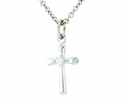 Sterling Silver Small Crucifix Pendant On 13 Inch Stainless Steel Chain