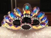 AB AND BLACK SWAROVSKI RHINESTONE CROWN