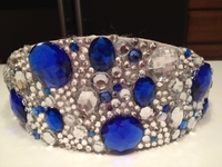 ROYAL BLUE AND CLEAR CRYSTAL CROWN