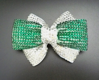 EMERALD AND CLEAR DOUBLE RHINESTONE BOW HAIR CLIP