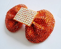 LARGE ORANGE RHINESTONE BOW