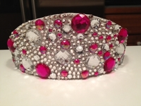 CLEAR AND PINK RHINESTONE CROWN