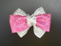 PINK AND CLEAR RHINESTONES BOW HAIR CLIP