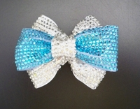 TURQUOISE/CLEAR DOUBLE RHINESTONE BOW HAIR CLIP