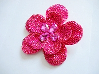 LARGE PINK RHINESTONE FLOWER HAIR CLIP