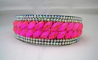 SHOCKING PINK CRYSTAL SURROUNDED WITH AB RHINESTONE HEADBAND CROWN