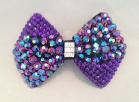 PURPLE AB RHINESTONE BOW HAIR CLIP