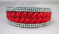 RED OVAL CRYSTALS SURROUNDED WITH AB RHINESTONES HEADBAND CROWN