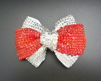 RED AND CLEAR RHINESTONE BOW HAIR BOW