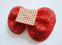 LARGE RED RHINESTONE BOW CLIP
